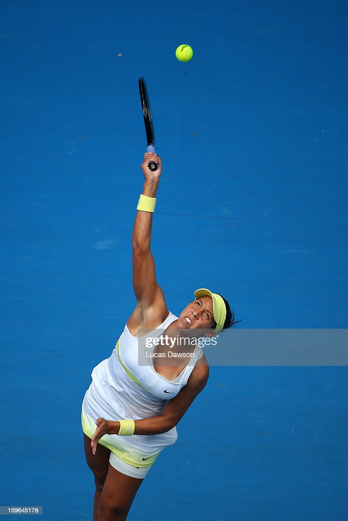 Madison Keys of the United States of America serves in her third round match against Angelique Kerber of Germany during day five of the 2013 Australian Open at Melbourne Park on January 18, 2013 in Melbourne, Australia.