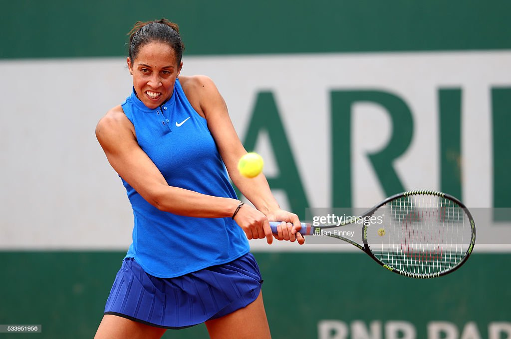 <a gi-track='captionPersonalityLinkClicked' href=/galleries/search?phrase=Madison+Keys&family=editorial&specificpeople=5965706 ng-click='$event.stopPropagation()'>Madison Keys</a> of the United States plays a backhand during the Women's Singles first round match against Donna Vekic of Croatia on day three of the 2016 French Open at Roland Garros on May 24, 2016 in Paris, France.