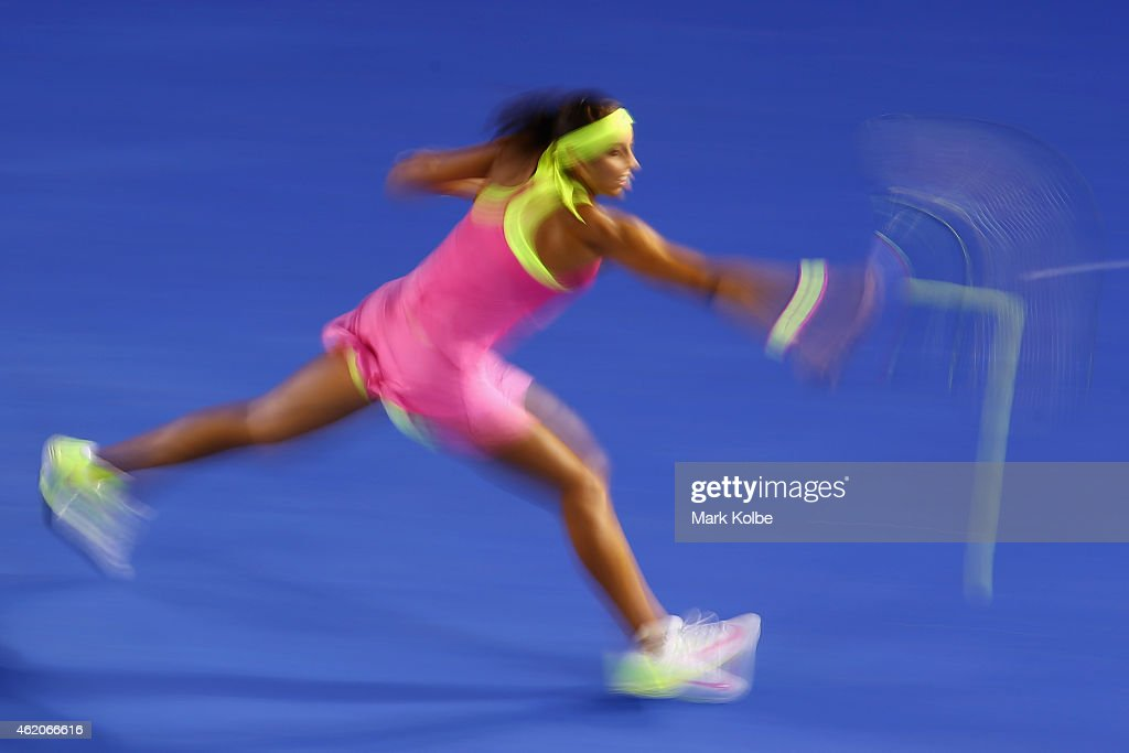 Madison Keys of the United States plays a backhand in her third round match against Petra Kvitova of the Czech Republi during day six of the 2015 Australian Open at Melbourne Park on January 24, 2015 in Melbourne, Australia.