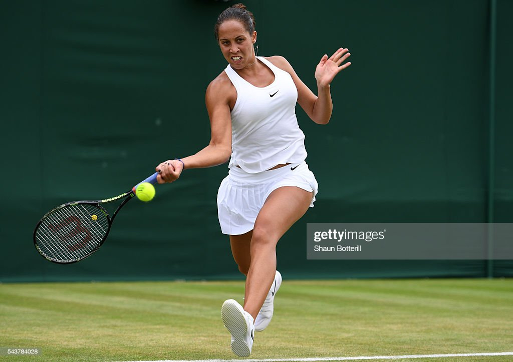 <a gi-track='captionPersonalityLinkClicked' href=/galleries/search?phrase=Madison+Keys&family=editorial&specificpeople=5965706 ng-click='$event.stopPropagation()'>Madison Keys</a> of The United States plays a forehand during the Ladies Singles second round match against Kirsten Flipkens of Belgium on day four of the Wimbledon Lawn Tennis Championships at the All England Lawn Tennis and Croquet Club on June 30, 2016 in London, England.