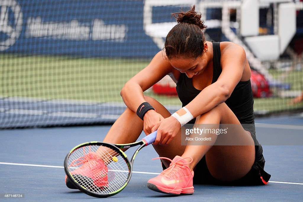 <a gi-track='captionPersonalityLinkClicked' href=/galleries/search?phrase=Madison+Keys&family=editorial&specificpeople=5965706 ng-click='$event.stopPropagation()'>Madison Keys</a> of the United States reacts after a play at the net late in the second set against Serena Williams of the United States during their Women's Singles Fourth Round match on Day Seven of the 2015 US Open at the USTA Billie Jean King National Tennis Center on September 6, 2015 in the Flushing neighborhood of the Queens borough of New York City.