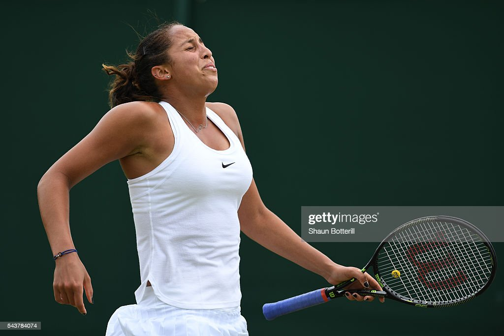 <a gi-track='captionPersonalityLinkClicked' href=/galleries/search?phrase=Madison+Keys&family=editorial&specificpeople=5965706 ng-click='$event.stopPropagation()'>Madison Keys</a> of The United States reacts during the Ladies Singles second round match against Kirsten Flipkens of Belgium on day four of the Wimbledon Lawn Tennis Championships at the All England Lawn Tennis and Croquet Club on June 30, 2016 in London, England.