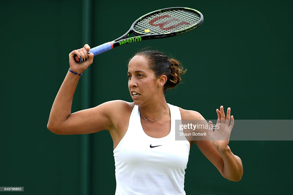 Madison Keys of The United States reacts during the Ladies Singles second round match against Kirsten Flipkens of Belgium on day four of the Wimbledon Lawn Tennis Championships at the All England Lawn Tennis and Croquet Club on June 30, 2016 in London, England.