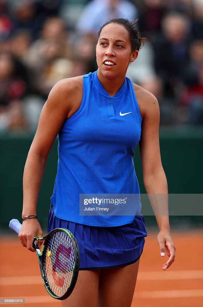 <a gi-track='captionPersonalityLinkClicked' href=/galleries/search?phrase=Madison+Keys&family=editorial&specificpeople=5965706 ng-click='$event.stopPropagation()'>Madison Keys</a> of the United States reacts during the Women's Singles first round match against Donna Vekic of Croatia on day three of the 2016 French Open at Roland Garros on May 24, 2016 in Paris, France.