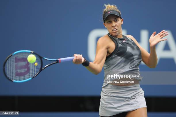 Madison Keys of the United States returns a shot against Sloane Stephens of the United States during their Women's Singles finals match on Day...