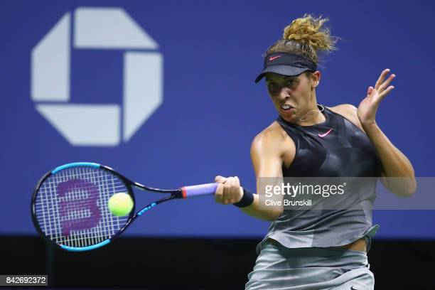 Madison Keys of the United States returns a shot to Elina Svitolina of Ukraine during their women's singles fourth round match on Day Eight of the...