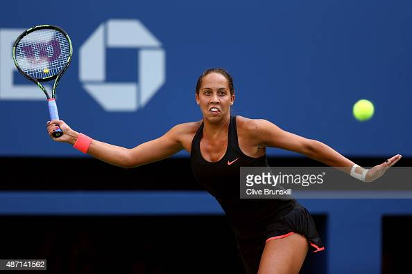 Madison Keys of the United States returns a shot to Serena Williams of the United States during their Women's Singles Fourth Round match on Day Seven...
