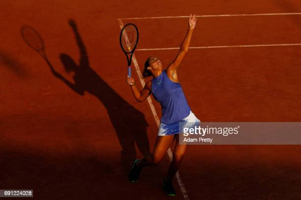 Madison Keys of the United States serves during the ladies singles second round match against Petra Martic of Croatia on day five of the 2017 French...