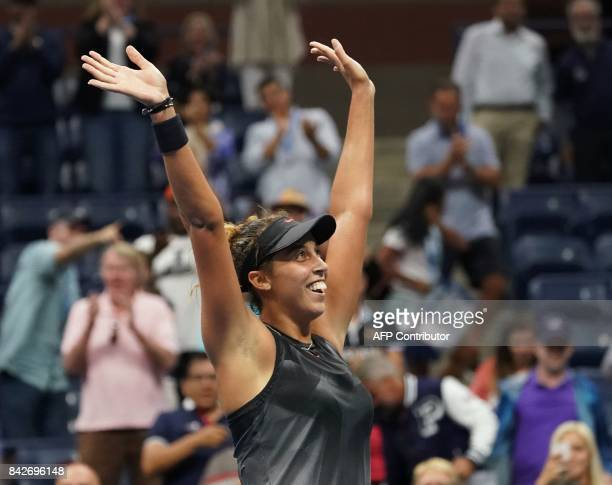 Madison Keys of the US celebrates her victory over Elina Svitolina of the Ukraine during their fourth round 2017 US Open Women's Singles match at the...