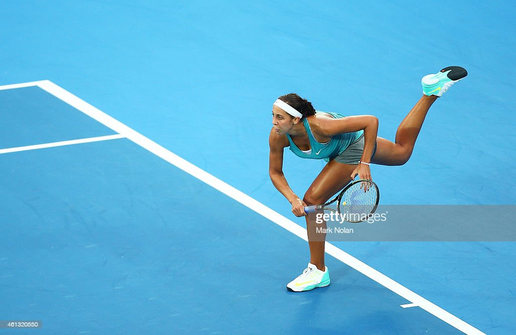 <a gi-track='captionPersonalityLinkClicked' href=/galleries/search?phrase=Madison+Keys&family=editorial&specificpeople=5965706 ng-click='$event.stopPropagation()'>Madison Keys</a> of the USA serves in her match against Svetlana Kuznetsova of Russia during the day one of the 2015 Sydney International at Sydney Olympic Park Tennis Centre on January 11, 2015 in Sydney, Australia.