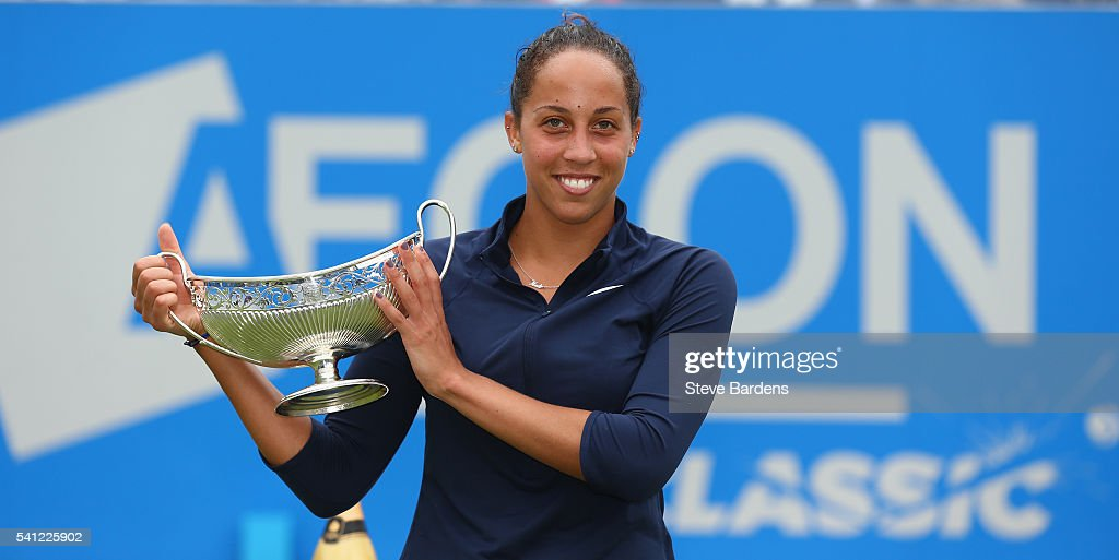 <a gi-track='captionPersonalityLinkClicked' href=/galleries/search?phrase=Madison+Keys&family=editorial&specificpeople=5965706 ng-click='$event.stopPropagation()'>Madison Keys</a> of United States celebrates with the Maud Watson trophy after her victory in the Women's Singles Final on day seven of the WTA Aegon Classic at Edgbaston Priory Club on June 19, 2016 in Birmingham, England.