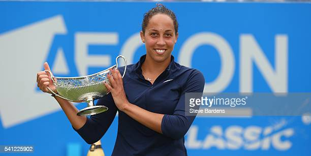 Madison Keys of United States celebrates with the Maud Watson trophy after her victory in the Women's Singles Final on day seven of the WTA Aegon...