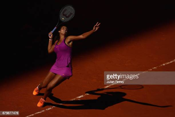 Madison Keys of USA in action against Misaki Doi of Japan during day one of the Mutua Madrid Open tennis at La Caja Magica on May 6 2017 in Madrid...