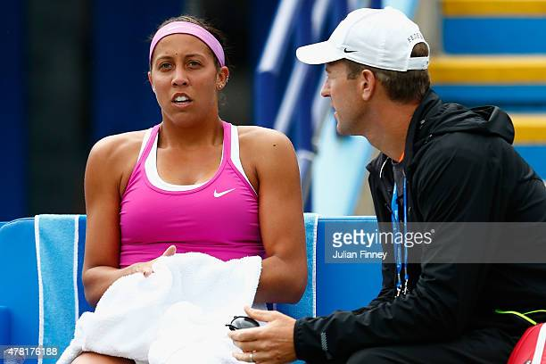 Madison Keys of USA with her coach in her match against Belinda Bencic of Switzerland during the Aegon International day three at Devonshire Park on...