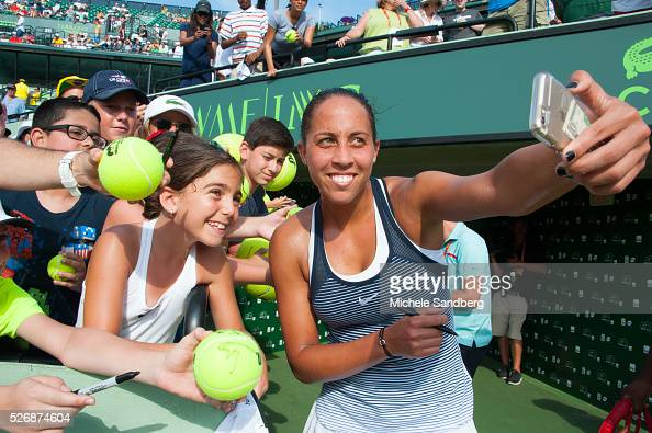 Madison Keys signs autographs after winning her match against Roberta Vinci of Italy during Day 7 of the Miami Open presented by Itau at Crandon Park...