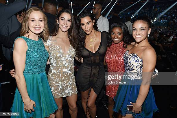 Madison Kocian Aly Raisman Kim Kardashian Simone Biles and Laurie Hernandez attend the 2016 MTV Music Video Awards at Madison Square Gareden on...