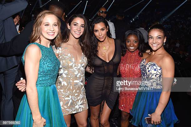 Madison Kocian Aly Raisman Kim Kardashian West Simone Biles and Laurie Hernandez attend the 2016 MTV Video Music Awards at Madison Square Garden on...