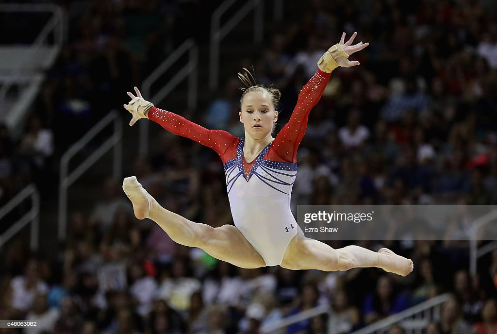 Madison Kocian competes in the floor exercise during Day 2 of the 2016 U.S. Women's Gymnastics Olympic Trials at SAP Center on July 10, 2016 in San Jose, California.