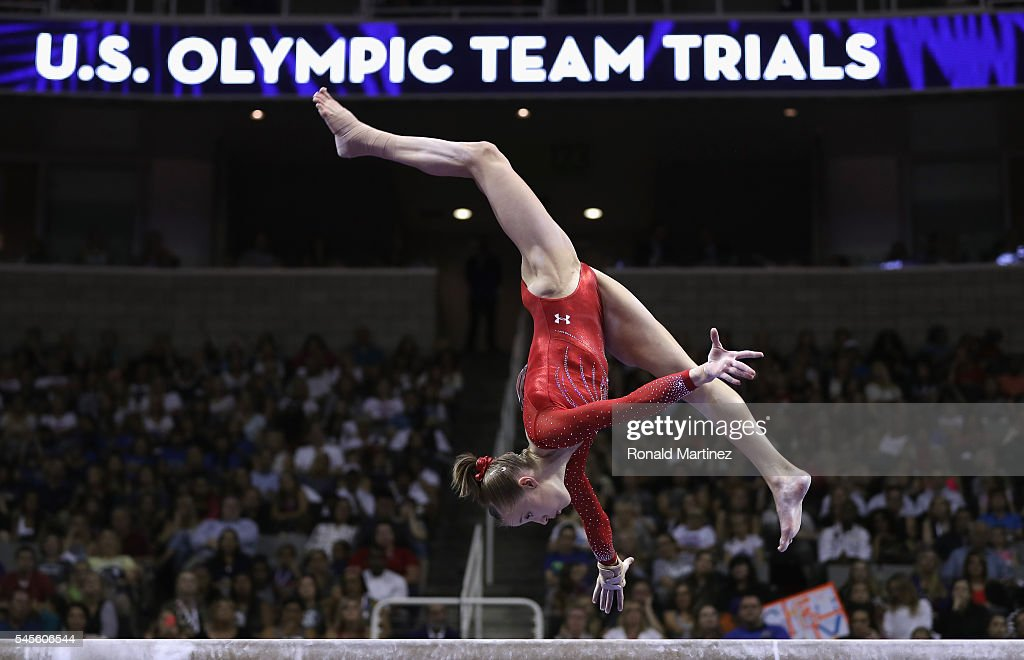 Madison Kocian competes on the balance beam during day 1 of the 2016 U.S. Olympic Women's Gymnastics Team Trials at SAP Center on July 8, 2016 in San Jose, California.