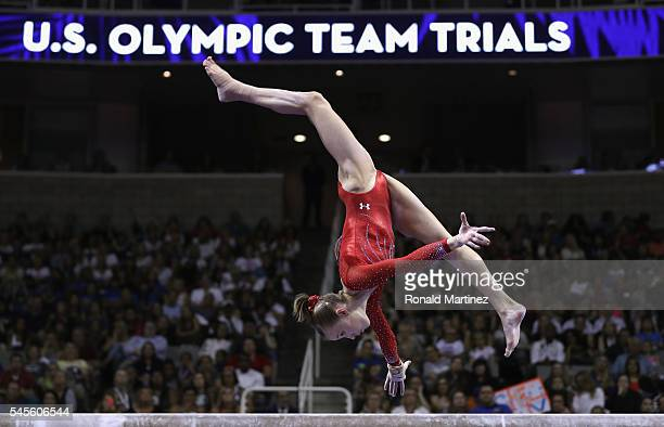 Madison Kocian competes on the balance beam during day 1 of the 2016 US Olympic Women's Gymnastics Team Trials at SAP Center on July 8 2016 in San...