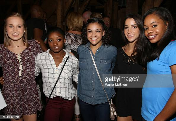 Madison Kocian Simone Biles Laurie Hernandez Aly Raisman Gabby Douglas from The Final Five US Women's Gymnastics Team go backstage to visit the cast...
