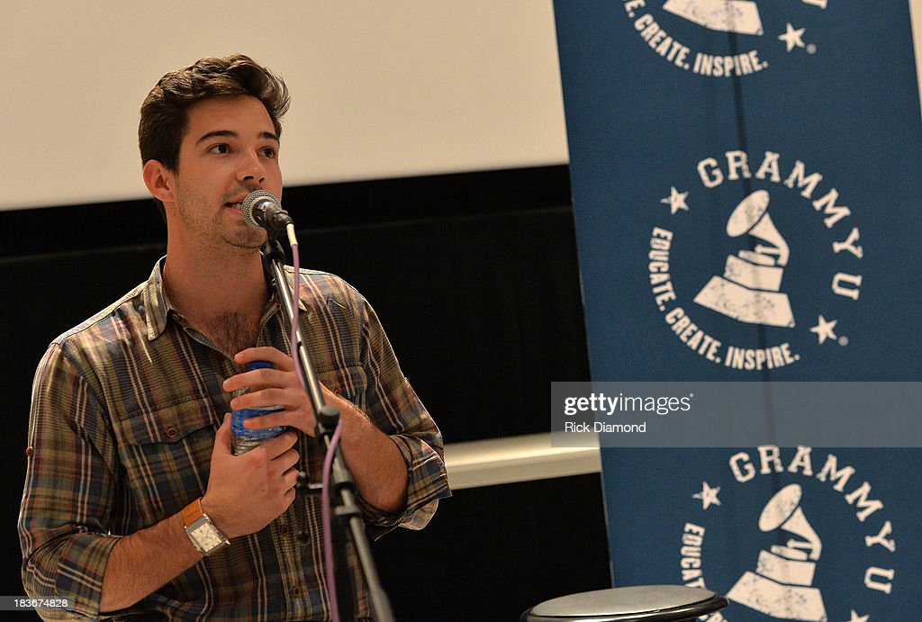 Madison Lee of GRAMMY U addresses the students during GRAMMY U Fall Kick-Off with Kip Moore and Brett James at MTSU on October 8, 2013 in Murfreesboro, Tennessee.