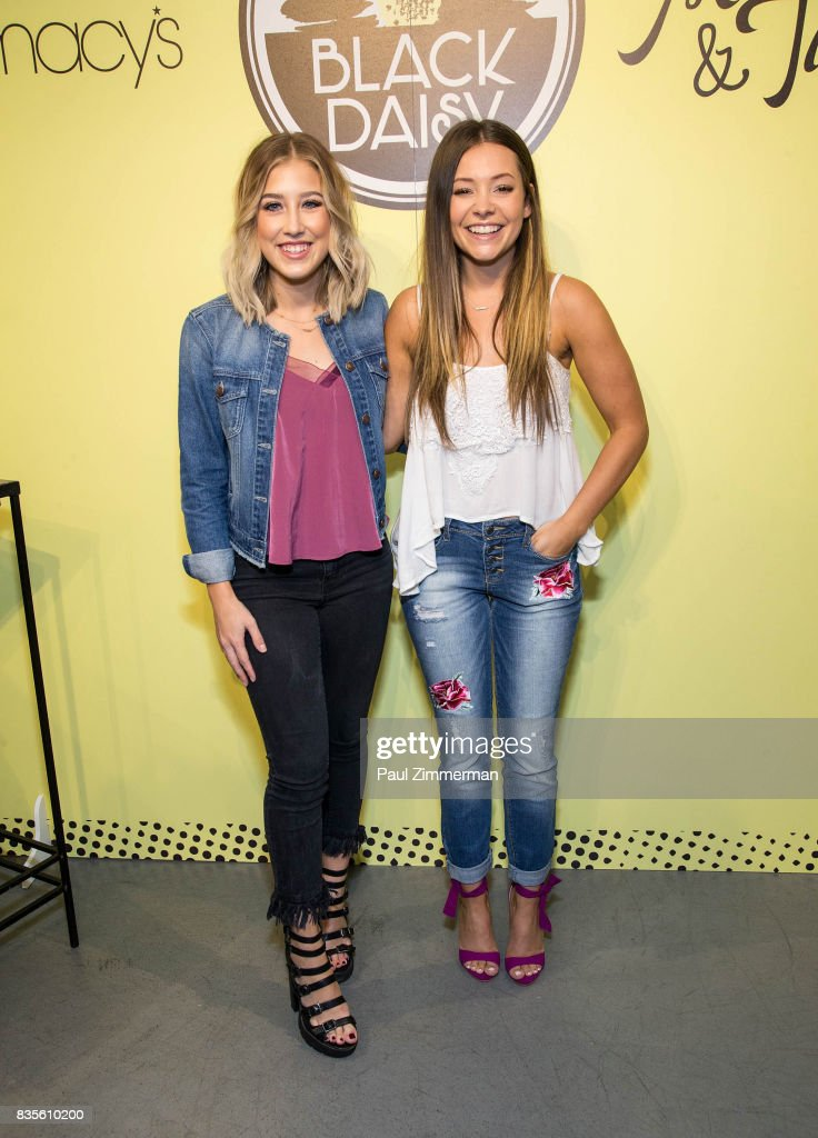 Madison Marlow (L) and Taylor Dye of Maddie & Tae visit Macy's Herald Square on August 19, 2017 in New York City.
