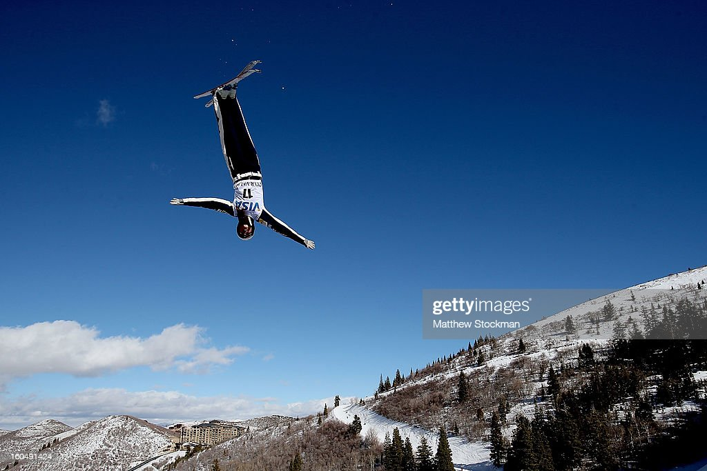 Madison Olsen #17 jumps in qualifying for the Ladies Aerials during the Visa Freestyle International at Deer Valley on February 1, 2013 in Park City, Utah.