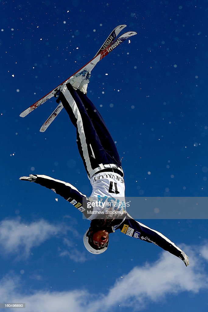 Madison Olsen #17 jumps while training for the Ladies Aerials during the Visa Freestyle International at Deer Valley on February 1, 2013 in Park City, Utah.