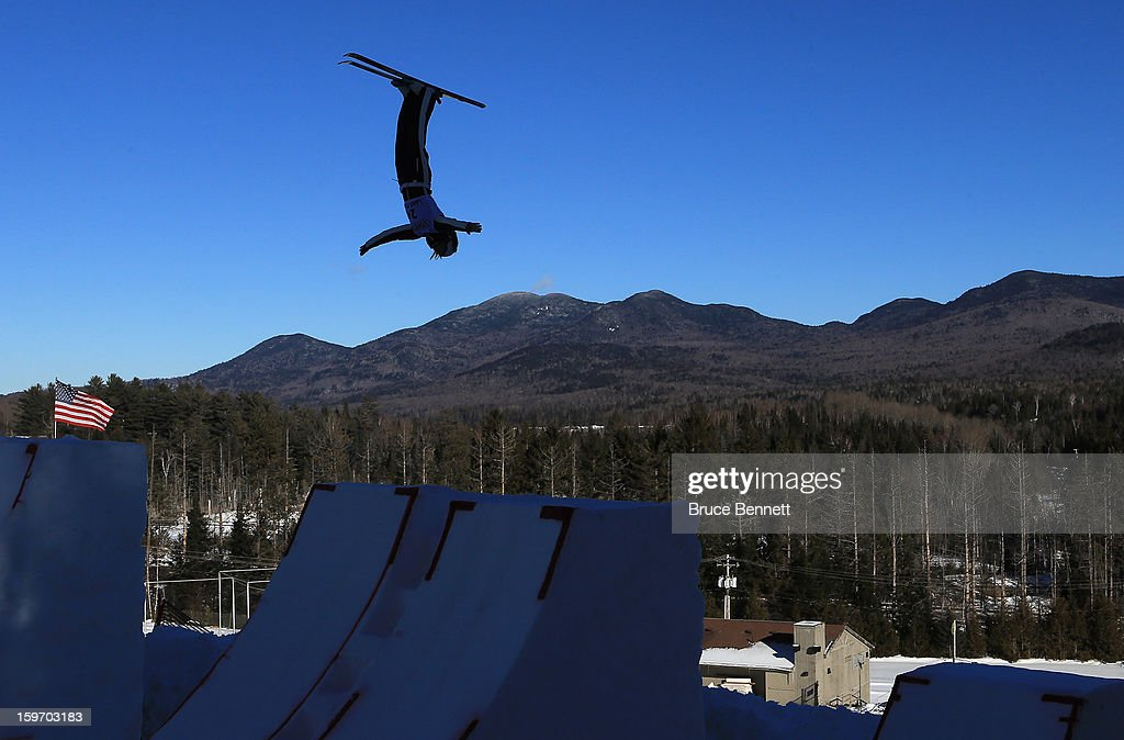Madison Olsen #24 of the USA jumps in the USANA Freestyle World Cup aerial competition at the Lake Placid Olympic Jumping Complex on January 18, 2013 in Lake Placid, New York.