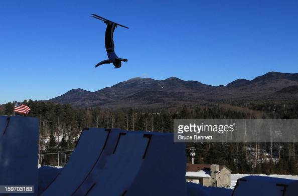 Madison Olsen of the USA jumps in the USANA Freestyle World Cup aerial competition at the Lake Placid Olympic Jumping Complex on January 18 2013 in...