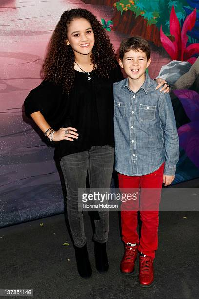 Madison Pettis and Jonathan Morgan Heit attend the screening of 'Jake And The Never Land Pirates Peter Pan Returns' at Walt Disney Studios on January...
