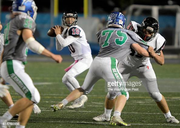 Madison QB Jacob Choutka drops back to pass during South Lakes defeat of Madison 21 13 in football at South Lakes High School in Reston VA October 14...