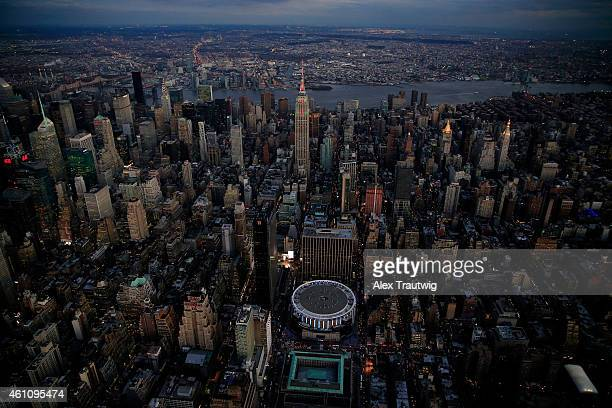 Madison Square Garden and the Empire State Building are seen from above on December 30 2014 in New York City