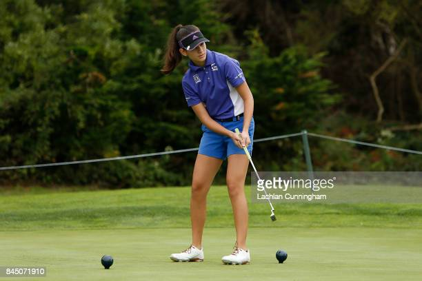 Madison Starke competes in the Putt competition in the girls 1213 years division during the Drive Chip and Putt Western Region Qualifying tournament...