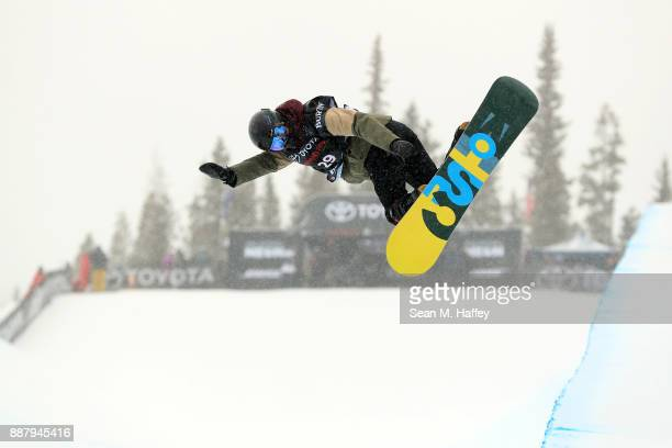 Madison Taylor Barrett of the United States competes in a qualifying round of the FIS Snowboard World Cup 2018 Ladies' Snowboard Halfpipe during the...