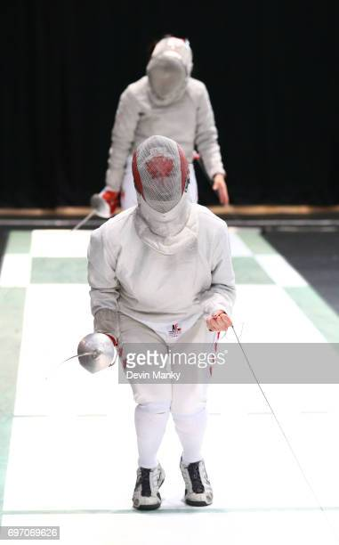 Madison Thurgood of Canada celebrates making a point against Julieta Toledo of Team Mexico during semifinal action in the Team Women's Sabre event on...