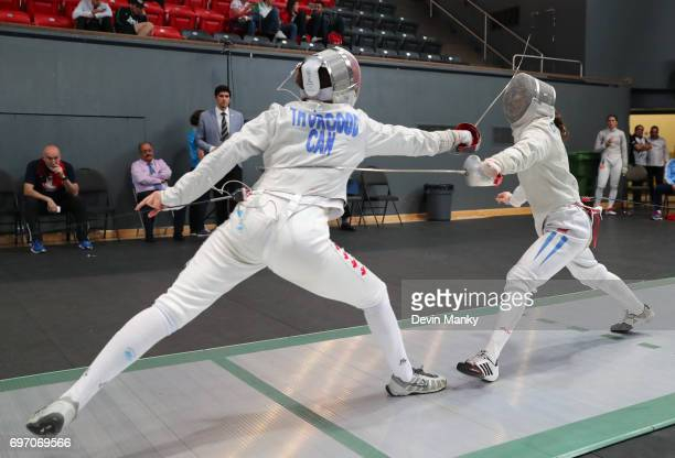 Madison Thurgood of Canada fences Maria Alicia Perroni of Argentina during the Team Women's Sabre event on June 17 2017 at the PanAmerican Fencing...