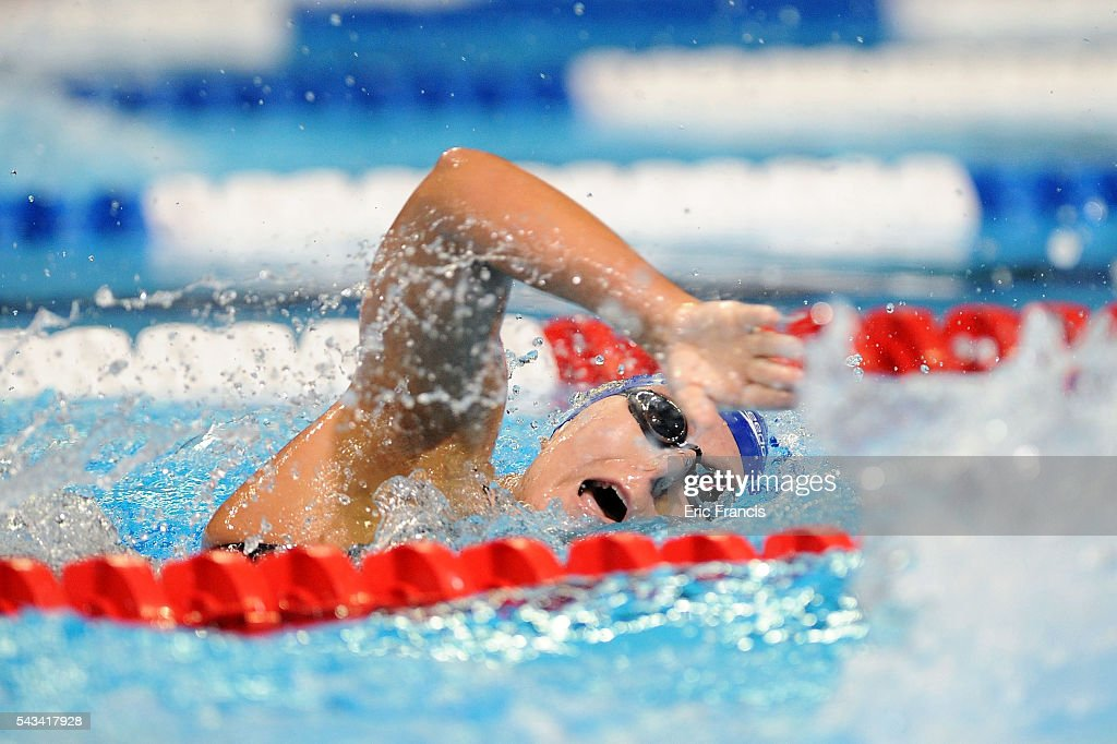 Madison White of the United States competes in a preliminary heat of the Women's 200 Meter Freestyle during Day 3 of the 2016 U.S. Olympic Team Swimming Trials at CenturyLink Center on June 28, 2016 in Omaha, Nebraska.
