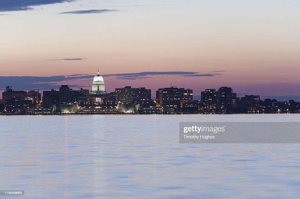 Madison, Wisconsin at twilight