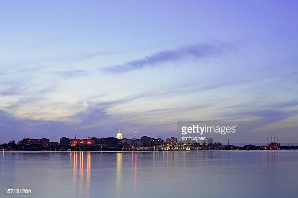 Madison, Wisconsin skyline at twilight