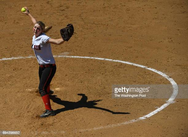 Madison's Kristin Giery throws from the mound during the Virginia 6A State Softball Semifinal game between Madison and Kellam at Westfield High...
