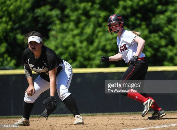 Madison's Olivia Myers right gets set to take off from first during the Virginia 6A State Softball Semifinal game between Madison and Kellam at...