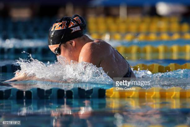 Madisyn Cox competes in the finals of the women's 200 meter indivdual medley on day three of the Arena Pro Swim Series Mesa at Skyline Aquatic Center...