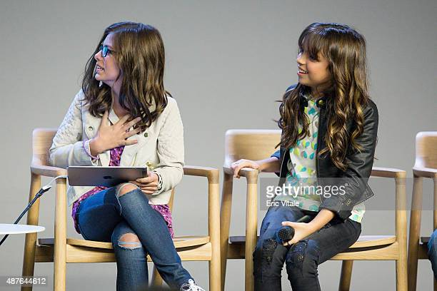 Madisyn Shipman and Cree Cicchino speak at the Apple Store Soho Presents Meet the Cast 'Nickelodeon's Game Shakers' at the Apple Store Soho on...