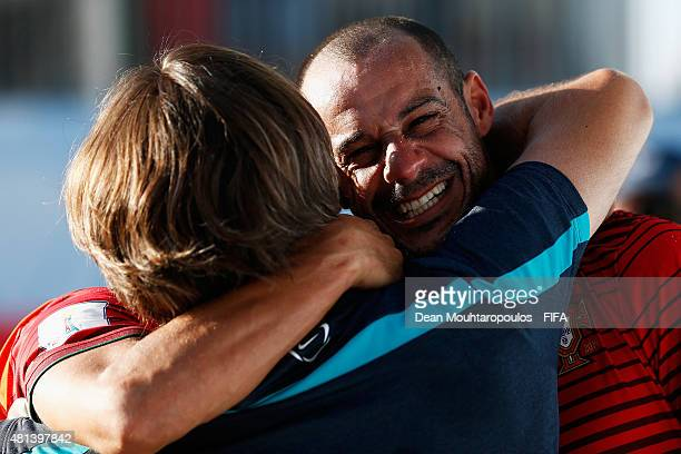 Madjer of Portugal celebrates after winning the FIFA Beach Soccer World Cup Final between Tahiti and Portugal held at Espinho Stadium on July 19 2015...
