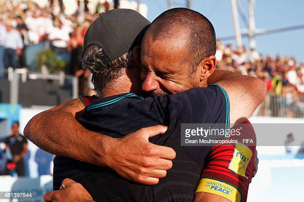 Madjer of Portugal celebrates with Portugal Head Coach Mario Narciso after winning the FIFA Beach Soccer World Cup Final between Tahiti and Portugal...
