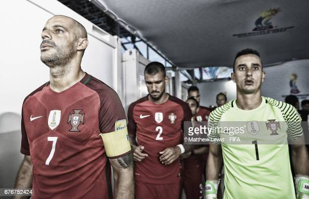 Madjer of Portugal waits in the tunnel with his team ahead of the FIFA Beach Soccer World Cup Bahamas 2017 group C match between United Arab Emirates...