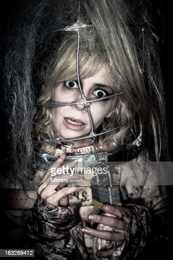 Madness Woman in Straitjacket Horror Portrait : Stock Photo