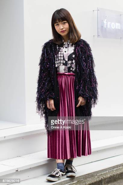 Madoka Fujimoto wearing a Nice Clip purple and black jacket a vintage oversized patterned black and white shirt and velvet purple skirt and Vans...